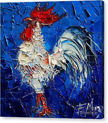 Little White Rooster Canvas Print by Mona Edulesco