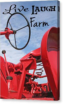 Live Laugh Farm Red Tractor Canvas Print by Heather Allen