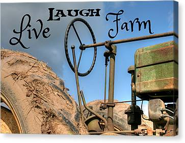 Live Laugh Farm Tractor Canvas Print by Heather Allen