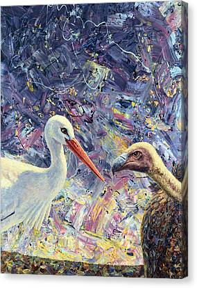 Living Between Beaks Canvas Print by James W Johnson