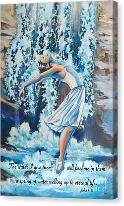 Living Water Scripture Canvas Print by Tamer and Cindy Elsharouni