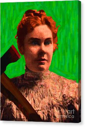 Lizzie Bordon Took An Ax - Painterly - Green Canvas Print by Wingsdomain Art and Photography