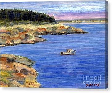Lobster Boat In Jonesport Maine Canvas Print by Pamela Parsons