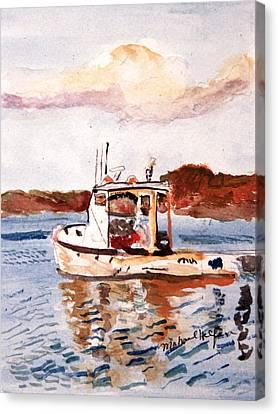 Lobster Boat Canvas Print by Michael Helfen