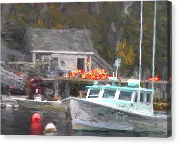 Down East Canvas Print featuring the photograph Lobster Boat New Harbor Maine Painterly Effect by Carol Leigh