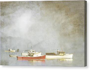 Down East Canvas Print featuring the photograph Lobster Boats At Anchor Bar Harbor Maine by Carol Leigh