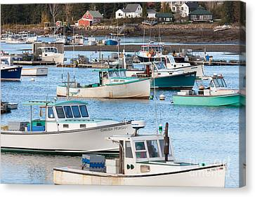 Lobster Boats In Bass Harbor I Canvas Print by Clarence Holmes