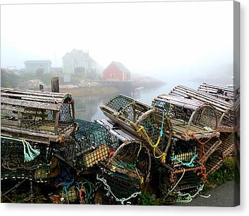 Lobster Traps And Fog Canvas Print by Tracy Munson