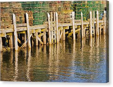 Lobster Traps Stacked On Pier On Coast Of Maine Canvas Print by Keith Webber Jr