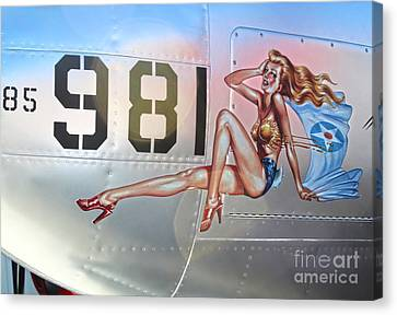Lockheed P-38l Lightning Honey Bunny Nose Art - 01 Canvas Print by Gregory Dyer