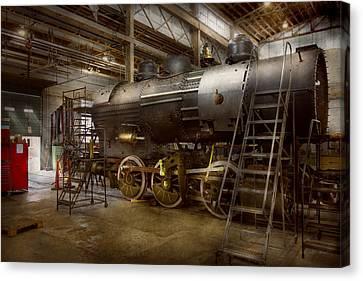 Locomotive - Repairing History Canvas Print by Mike Savad