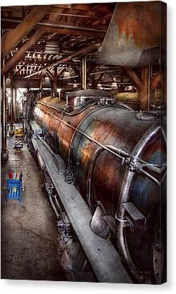 Locomotive - Routine Maintenance  Canvas Print by Mike Savad