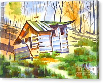Log Cabin In The Wilderness Canvas Print by Kip DeVore
