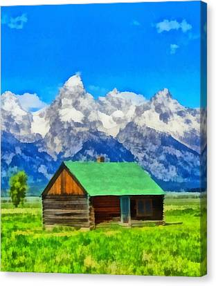 Log Cabin In Wyoming Canvas Print by Dan Sproul