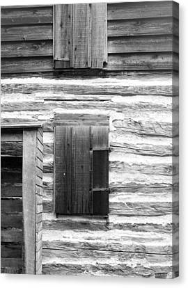Log Cabin Walls 4 Bw Canvas Print by Mary Bedy