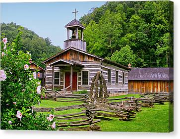 Log Church Canvas Print by Mary Almond