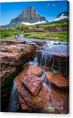 Logan Pass Waterfall Canvas Print by Inge Johnsson