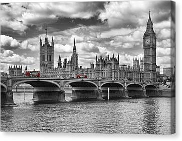 London - Houses Of Parliament And Red Buses Canvas Print by Melanie Viola