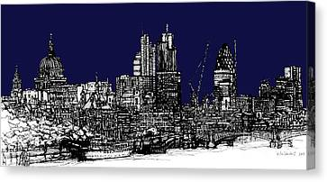 Dark Ink With Bright London Roofscape In Navy Blue Canvas Print by Adendorff Design