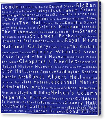 London In Words Blue Canvas Print by Sabine Jacobs