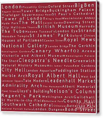London In Words Red Canvas Print by Sabine Jacobs
