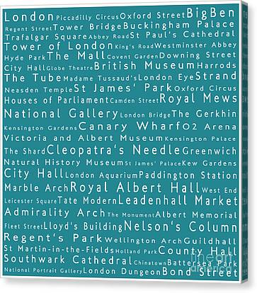 London In Words Teal Canvas Print by Sabine Jacobs