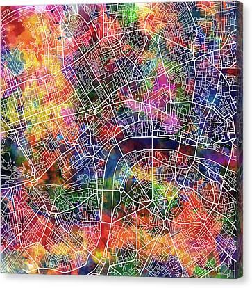 London Map Watercolor Canvas Print by Bekim Art