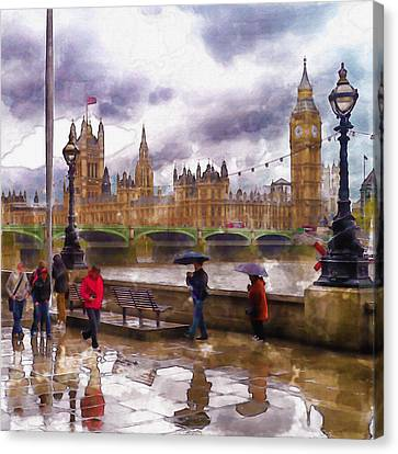 London Rain Watercolor Canvas Print by Marian Voicu