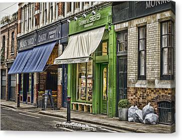 London Shop Fronts Canvas Print by Heather Applegate