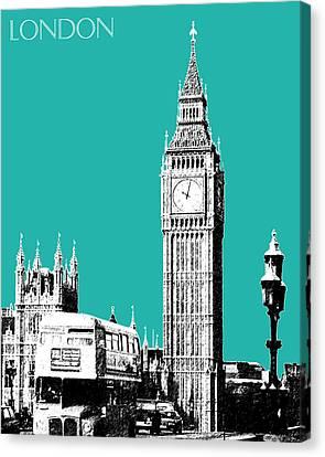 London Skyline Big Ben - Teal Canvas Print by DB Artist