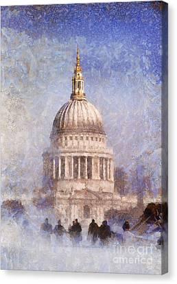 London St Pauls Fog 02 Canvas Print by Pixel Chimp