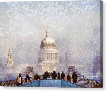 London St Pauls In The Fog Canvas Print by Pixel  Chimp