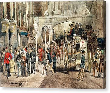 London Street, 1869  Canvas Print by Jean-Baptiste Edouard Detaille