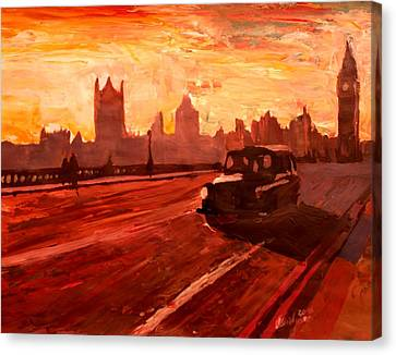 London Taxi Big Ben Sunset With Parliament Canvas Print by M Bleichner