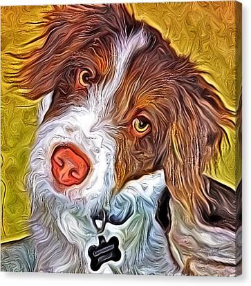 London The Dog Portrait Canvas Print by Artistinoz Jodie sims