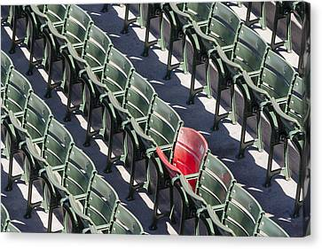 Lone Red Number 21 Fenway Park Canvas Print by Susan Candelario