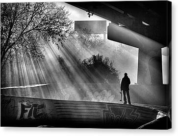 Lone Skater Canvas Print by Scott  Wyatt