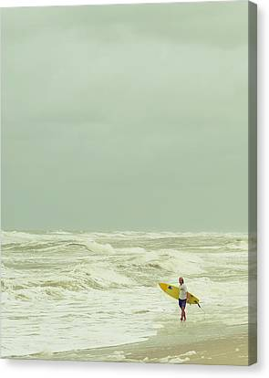 Lone Surfer Canvas Print by Laura Fasulo