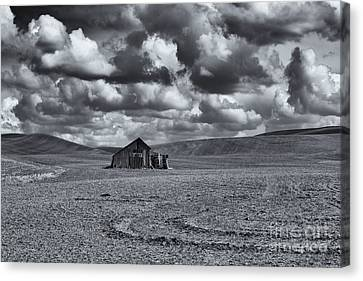 Lonely Barn On The Prairie Canvas Print by Mike Dawson