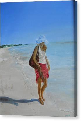 Lonely Beach Walk Canvas Print by Joyce Reid