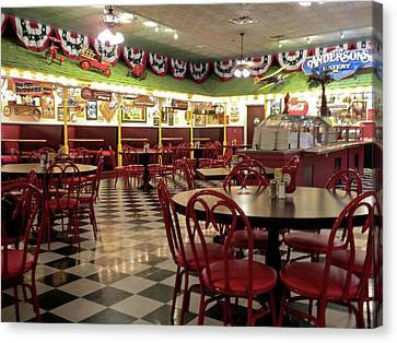 Lonely Cafe Canvas Print by Thomas Woolworth
