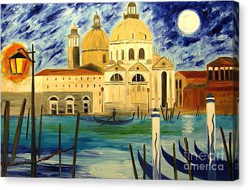 Lonely Gondolier Canvas Print by Mariana Stauffer