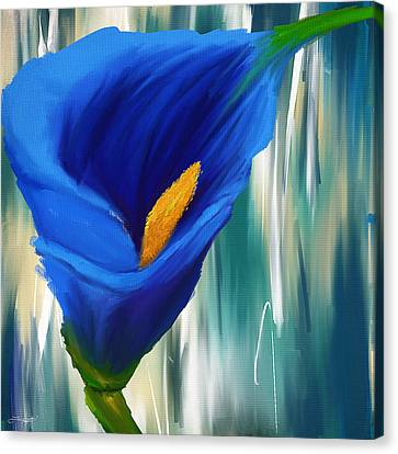Lonesome And Blue- Blue Calla Lily Paintings Canvas Print by Lourry Legarde