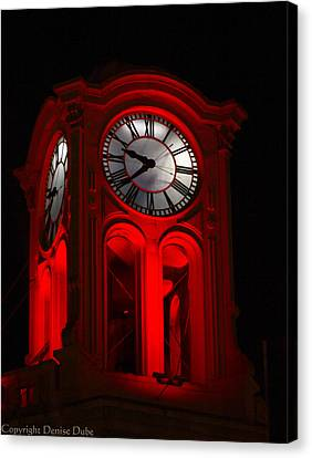 Long Beach Pine Ave. Clock Tower In Red Canvas Print by Denise Dube