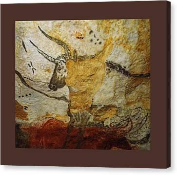 Long Horn Bull Upsized A Little Border Canvas Print by L Brown