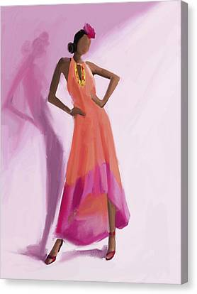 Long Orange And Pink Dress Fashion Illustration Art Print Canvas Print by Beverly Brown Prints