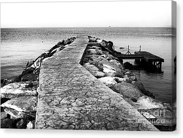 Long Walk To The Sea - Black And White Canvas Print by John Rizzuto