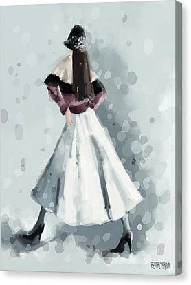 Long White Skirt And Black Sequined Hat Fashion Illustration Art Print Canvas Print by Beverly Brown Prints