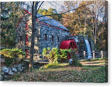 Longfellow's Wayside Inn Grist Mill In Autumn Canvas Print by Jeff Folger