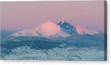 Longs Peak Alpenglow In Winter Canvas Print by Aaron Spong